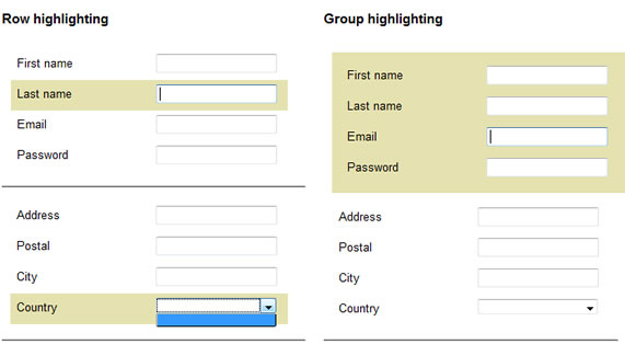 form Context highlighting using jQuery
