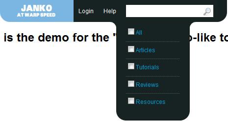jQuery Vimeo-like top navigation | drop down navigation menu