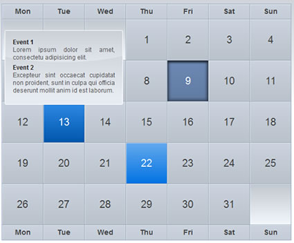 astonishing iCal-like calendars with jQuery