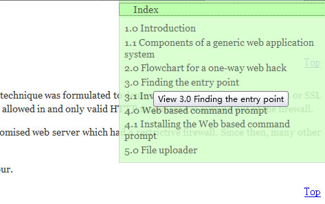 Web Page Content Indexer scroll with jQuery Plugin