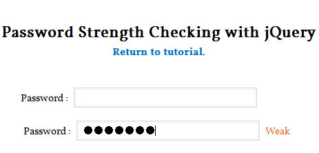 jQuery Simple Password Strength Check