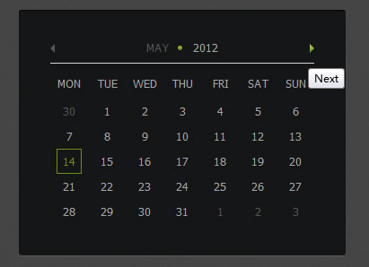 Useful jQuery and CSS3 Calendar