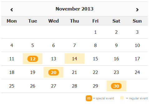 Zabuto Calendar - a jQuery plugin for Bootstrap that lets you add a month calendar to your web page