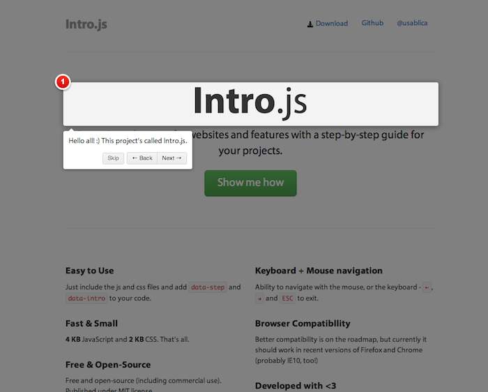 Intro.js - Better introductions for websites and features with a step-by-step guide