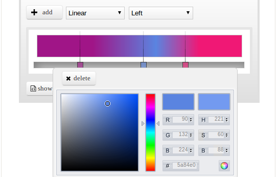very nice and useful  gradient(color) selector  with jQuery