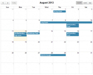 FullCalendar is a jQuery plugin that provides a full-sized, drag & drop calendar