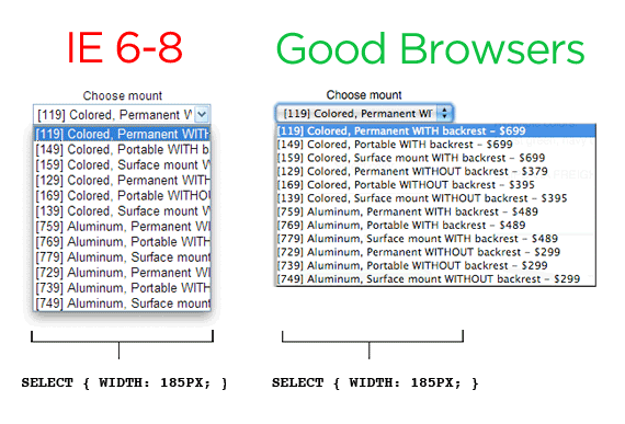IE8 expand select width with jquery