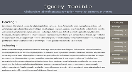 Tocible - A lightweight jQuery plugin for creating table of contents navigation menu